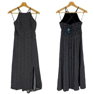 NWT HOLLISTER Black and White Maxi Halter Dress M